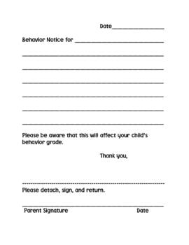 Misbehavior Notice