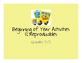 Misc: Beginning of the Year Activities and Printable Worksheets: Grades 3-5