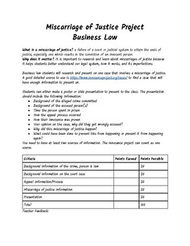 Miscarriage of Justice Business Law Project