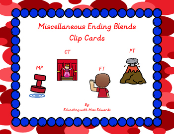Miscellaneous Ending Blends Clip Cards
