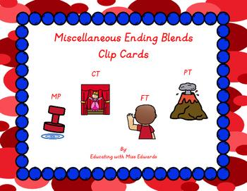 Miscellaneous Ending Blends Clip Cards