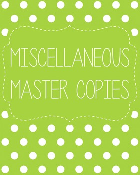 Miscellaneous Master Copies Binder Cover