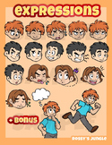 Miscellaneous facial expressions plus bonus kids clip art