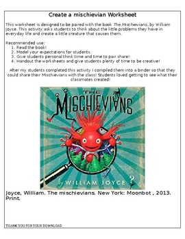 Mischievians Worksheet, Book by William Joyce