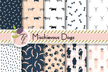 Mischievous Dogs Patterns Seamless Pattern Set. Digital paper pack.