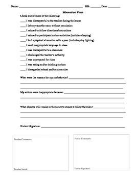 Misconduct/Behavior reflection form