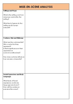 Mise-En-Scène Analysis Table - Film Study and Analysis (Years 8-12)