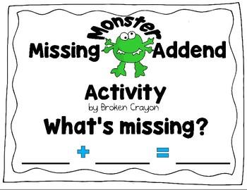 Missing Addend Activity, Part-Part-Whole Activity