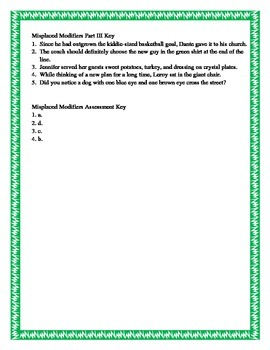 Misplaced Modifiers Practice and Assessment