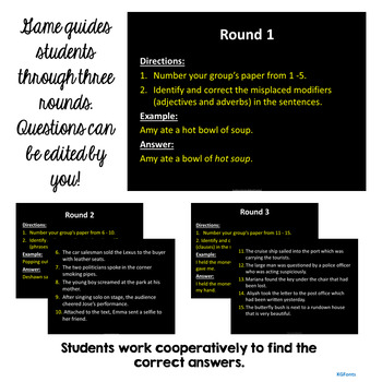 Misplaced Modifiers Trashketball Review Game