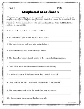 Misplaced Modifiers Worksheets