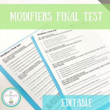 Misplaced and Dangling Modifiers Test- Editable!