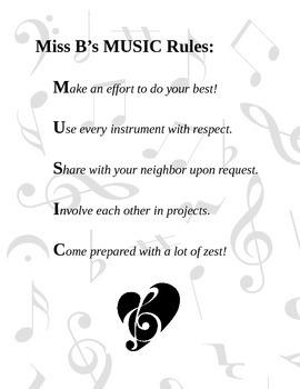 Miss B's MUSIC Rules