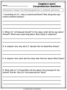 Miss Daisy is Crazy Novel Study and Activities