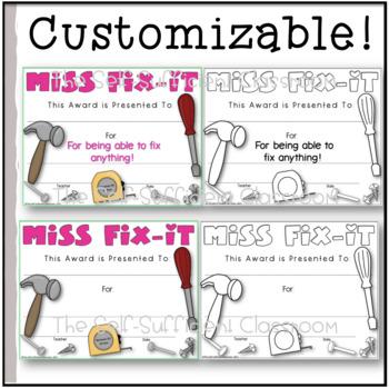 Miss Fix-It & Mr. Fix-It Awards