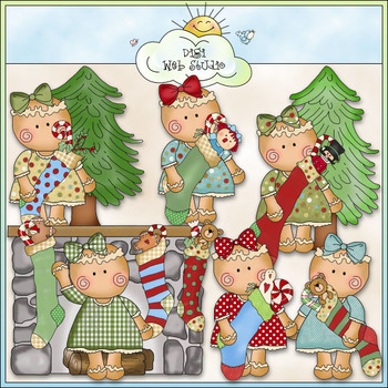 Miss Ginger Stockings Clip Art - Christmas Clip Art - CU C