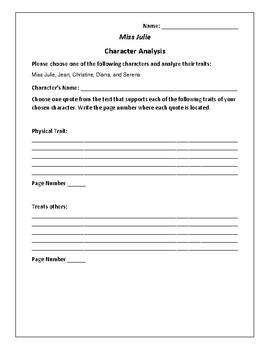 Miss Julie - Character Analysis Activity - August Strindberg