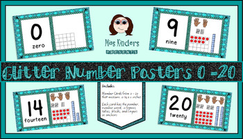 Miss Kinders Glitter Number Posters