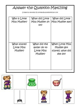 Miss Muffet themed Answer the Question printable game.  Preschool daycare game.