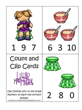 Miss Muffet themed Count and Clip Cards child math curriculum.  Daycare.