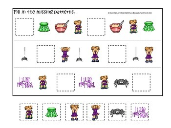 Miss Muffet themed Fill in the Missing Pattern preschool printable game.
