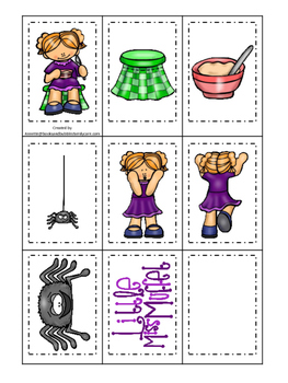 Miss Muffet themed Memory Matching preschool curriculum game. Daycare