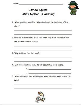 Miss Nelson Book Study Pack