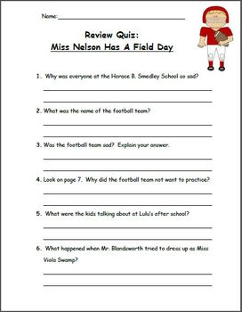 Miss Nelson Has A Field Day - Book Study