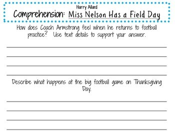 Miss Nelson Has a Field Day by Harry Allard:    A Complete Literature Study!