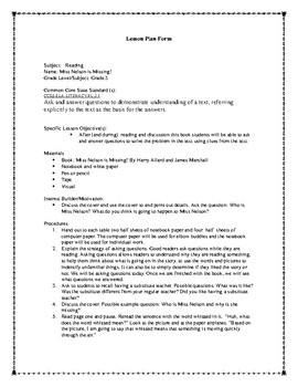 Miss Nelson Is Missing Asking Questions Lesson Plan
