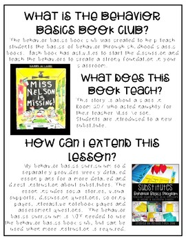 Miss Nelson Is Missing- Behavior Basics Book Club