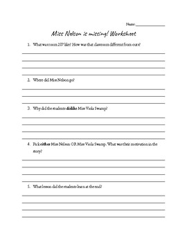 Miss Nelson Is Missing Worksheet with comprehension questions