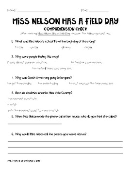 Miss Nelson has a Field Day Comprehension