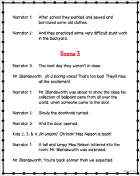 Miss Nelson is Back - Readers' Theater Script