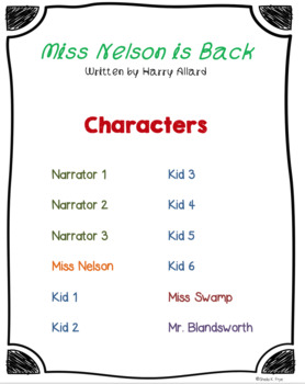 Readers' Theater Script & MORE! - Miss Nelson is Back - Fluency - Common Core