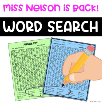 Word Search - Miss Nelson is Back! - Fun Bell Ringer or Early Finisher Activity