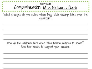 Miss Nelson is Back by Harry Allard:    A Complete Literature Study!