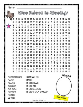 Miss Nelson is Missing {Word Search & Answer Key}
