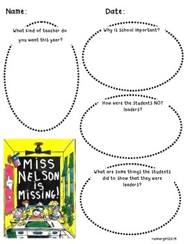 Miss Nelson is Missing Reading/Writing Activity