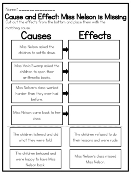 """""""Miss Nelson is Missing"""" Cause and Effect Worksheet"""