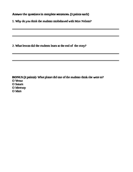 Miss Nelson is Missing! Comprehension Test
