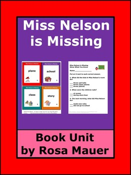 Miss Nelson is Missing Literacy Activities