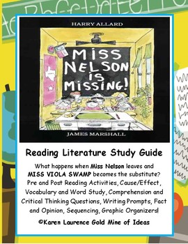 Miss Nelson is Missing Literature Reading Study Guide and Teaching Unit