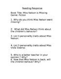 Miss Nelson is Missing Reading Response Questions