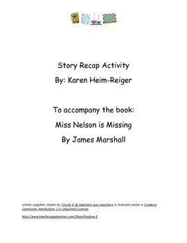 Miss Nelson is Missing Recap Activity