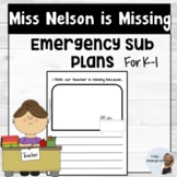 Miss Nelson is Missing Sub Plans