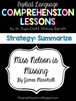 Miss Nelson is Missing - Summarize Comprehension Lesson Plan