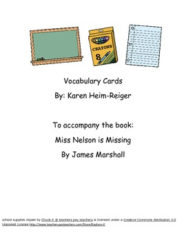 Miss Nelson is Missing Vocabulary Cards