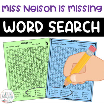 Word Search - Miss Nelson is Missing!-Fun Bell Ringer or Early Finisher Activity