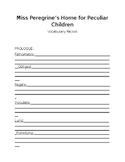 Miss Peregrine's Home for Peculiar Children vocabulary work